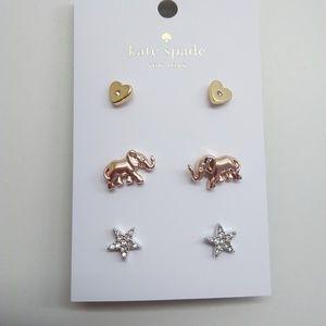 Kate Spade New Elephant, Heart, and Star Earrings